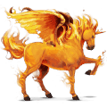 winged riding unicorn fire element